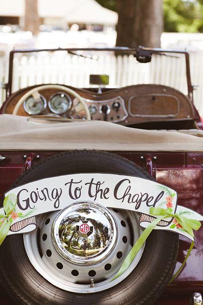 love this getaway car! | White Rabbit Studios #wedding