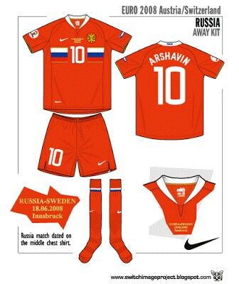 Russia away kit for the 2008 European Championships.