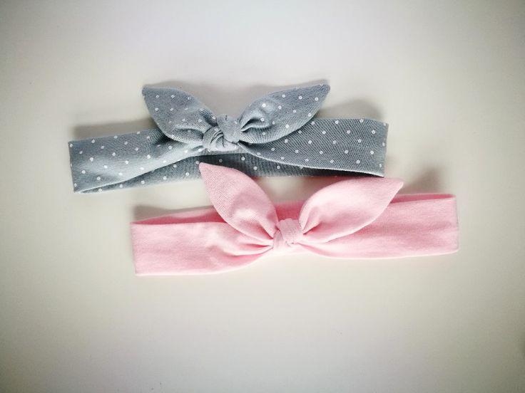 Dwie opaski pin up różowa szara w kropki białe - MadebyKaza - Opaski dla niemowląt