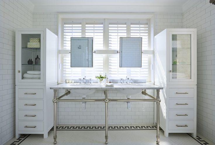 Chic Bathroom With Subway Tiled Walls Framing 3 Leg