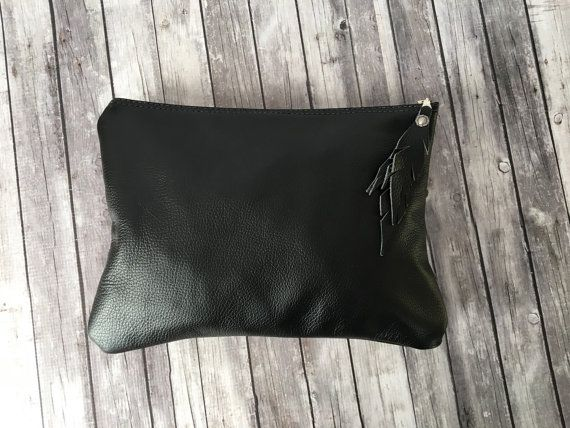 Black Leather Clutch / zwart lederen tas / Leather Clutch / lederen iPad Sleeve / zwart lederen hoes / lederen portemonnee / moeders Day Gift