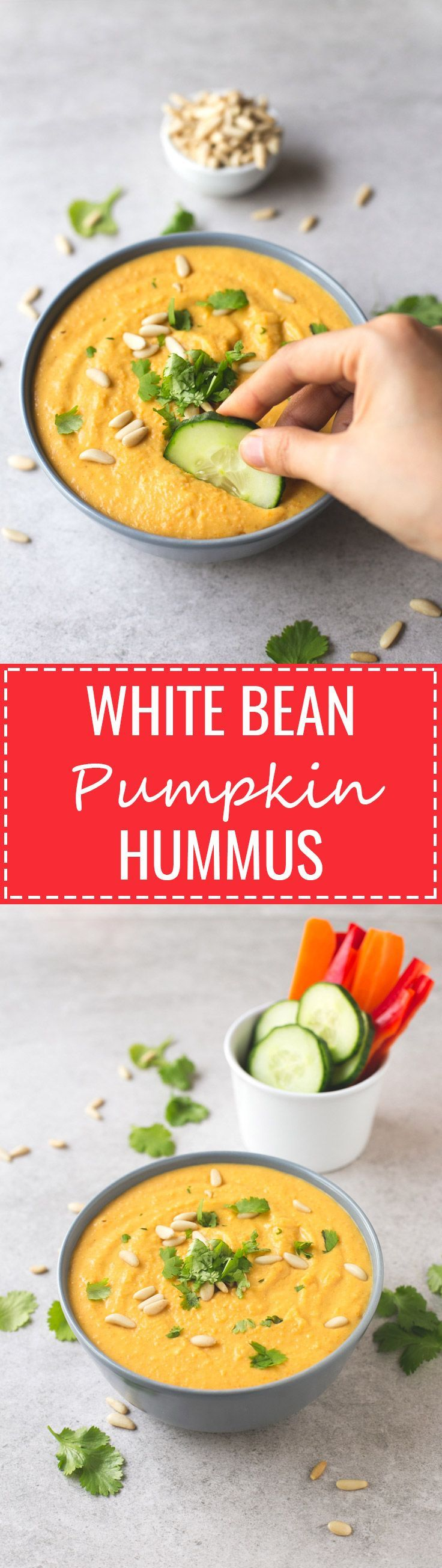White Bean Pumpkin Hummus - I've always made hummus with chickpeas, but the other day I used cannellini beans instead and also added pumpkin. It's less thick, but SO GOOD!