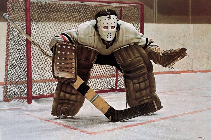 """KenDanby: Danby was best known for creating unique visual images that study everyday life. In his 1972 painting """"At the Crease"""", the masked ice-hockey goalie is so iconic it has been referred to as """"something of a national symbol."""" The egg tempera work hangs in reproduction in countless homes of Canadian hockey lovers."""