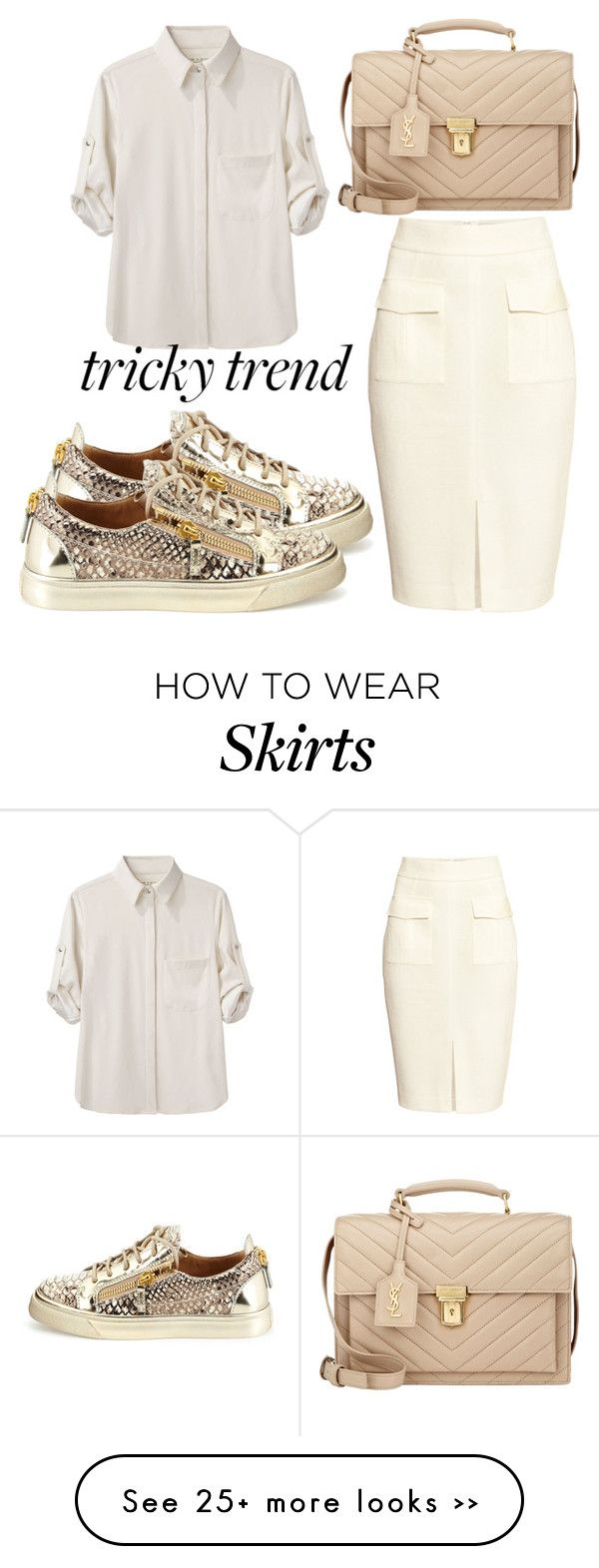 """Tricky Trend: Pencil Skirts and Sneakers"" by fiirework on Polyvore featuring moda, H&M, rag & bone, Giuseppe Zanotti y Yves Saint Laurent"