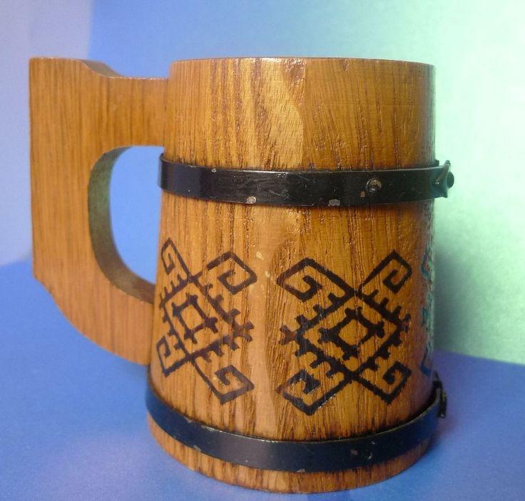 Vintage Old Soviet Latvia USSR Wood Beer Cup Mug Folk National Ornament signed