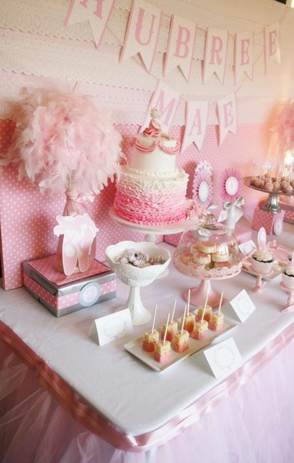baby girl's first birthday | Ballerina themed baby shower or birthday party via Kara's Party Ideas ...