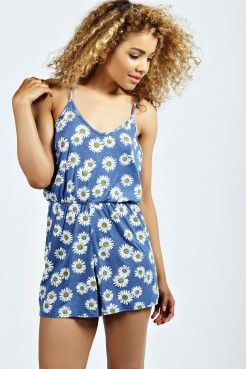 Kelis Daisy Print String Back Playsuit - Playsuits & Jumpsuits - Women's Sale
