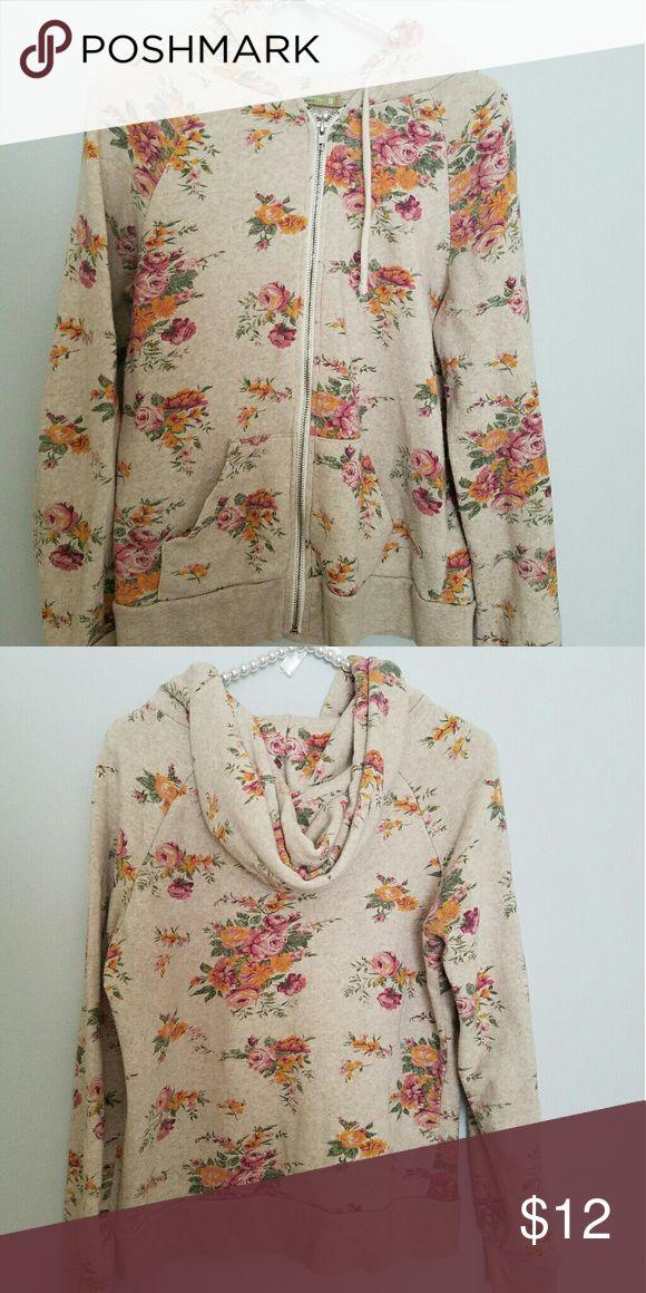 Alternative Earth Floral Zip Up Sweatshirt Cozy Zip Up Sweatshirt in fun floral pattern. Tops Sweatshirts & Hoodies