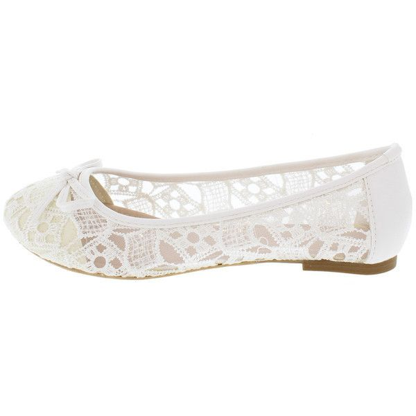 SPOT42 WHITE SHEER LACE BOW TOE BALLET FLAT (£7.70) ❤ liked on Polyvore featuring shoes, flats, ballerina pumps, ballet flat shoes, white ballet flats, bow ballet flats and white flat shoes