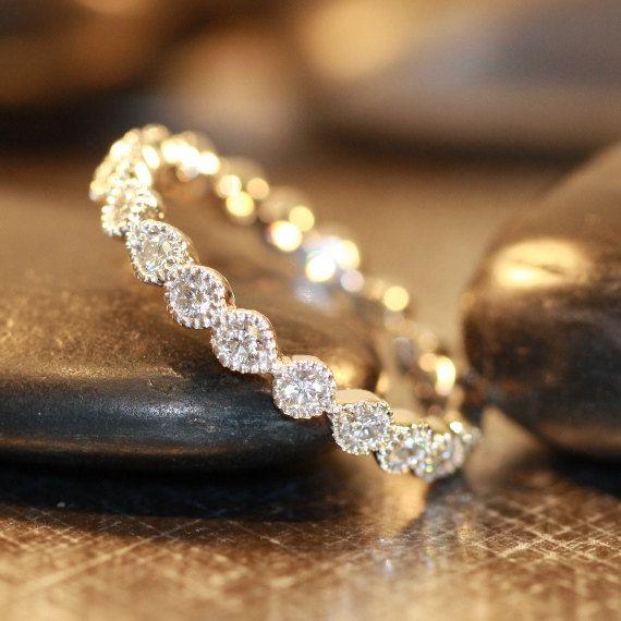 Vintage inspired bezel-set diamond wedding band by LaMoreDesign