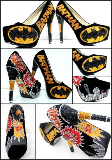 FIGHT FOR JUSTICE IN STYLE IN THESE BLINGED UP BATMAN HEELS