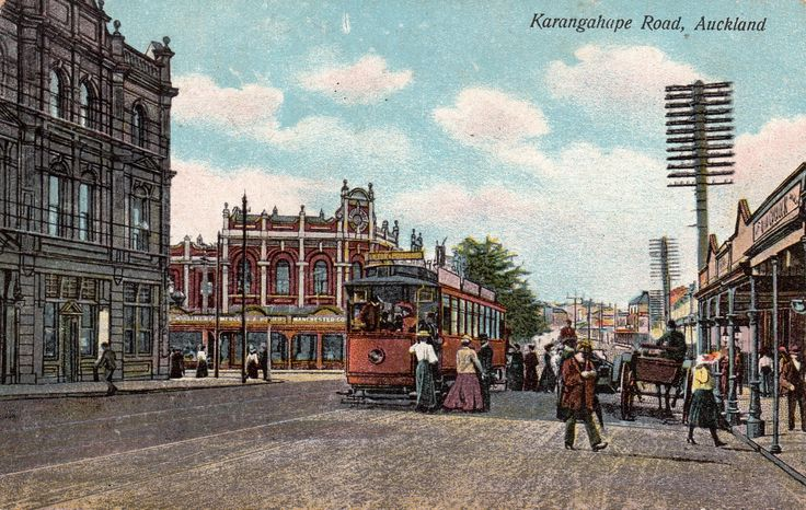 Karangahape Road, Auckland in about 1900. Postcard from the G & G Series ~ No. 169. Printed in Berlin.