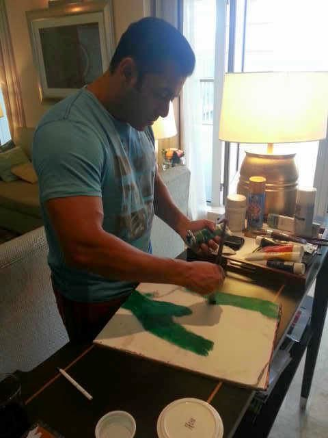 Artist at work! Guess what Salman is painting here!