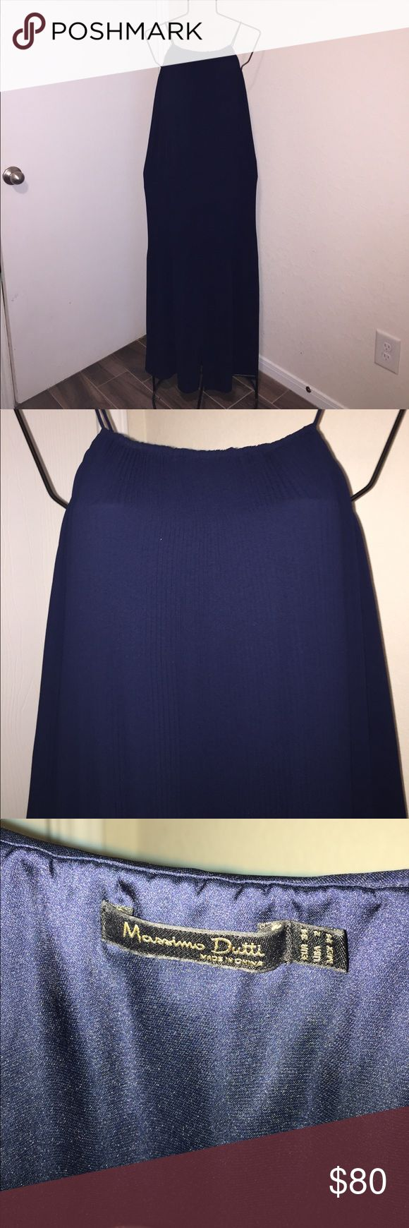 Massimo Dutti dress size 2 Excellent condition, these pictures do no justice for this beautiful dress. The silk lining of the dress is about knee length & the outer part of the dress is floor length! Dark navy blue, dry clean only Massimo Dutti Dresses