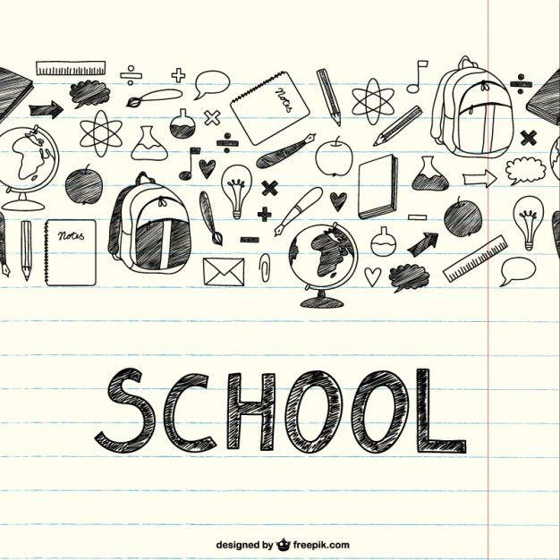 Desenho itens escolares em um notebook Vetor grátis