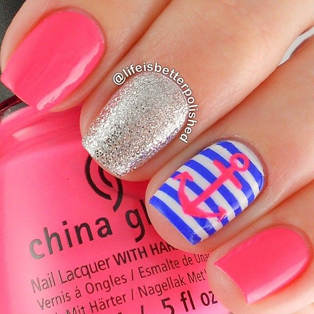 Pink, glitter, stripes nails. Anchor Nail art. Nail design. Polish. Polishes. @lifeisbetterpolished