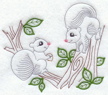 "Vintage-Stitch Squirrel Duo	Product ID:	C7217 Size:	5.7""(w) x 4.86""(h) (144.8 x 123.4 mm)	Color Changes:	7 Stitches:	8087	Colors Used:	7"