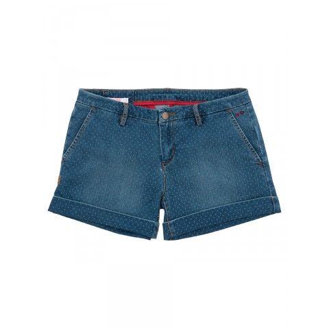 Light denim shorts with pois SUN68 Woman SS15 #SUN68 #SS15 #woman #shorts #denim