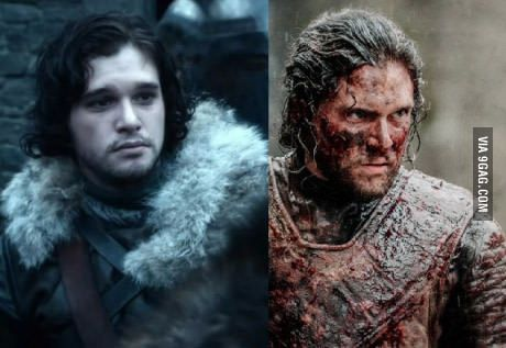 Jon Snow season 1 and season 6