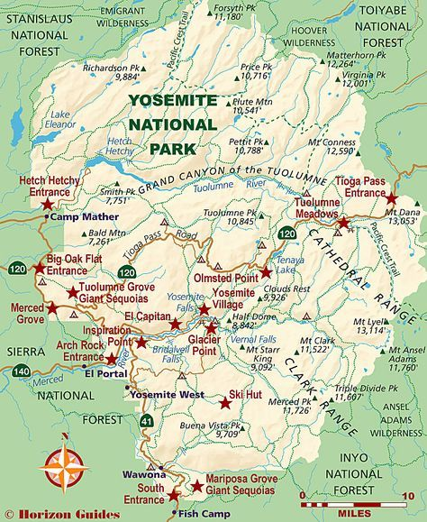 Yosemite National Park Map | Yosemite national park in 2019 ...