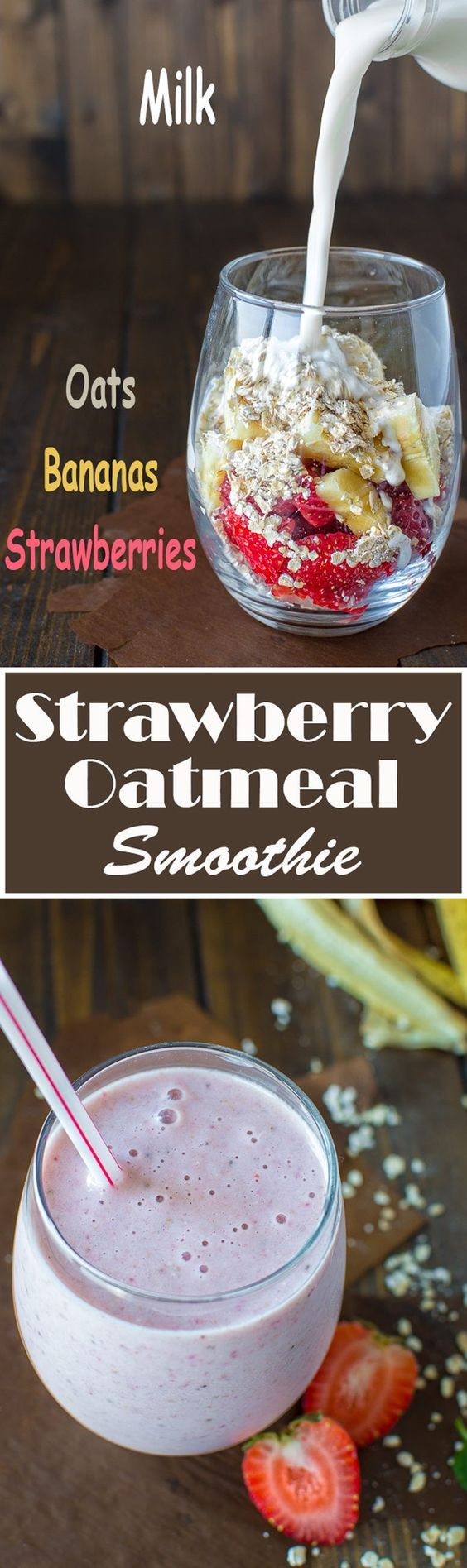 This creamy Strawberry and Oatmeal Smoothie makes the perfect breakfast. It is low on calories, yet so filling and tasty!