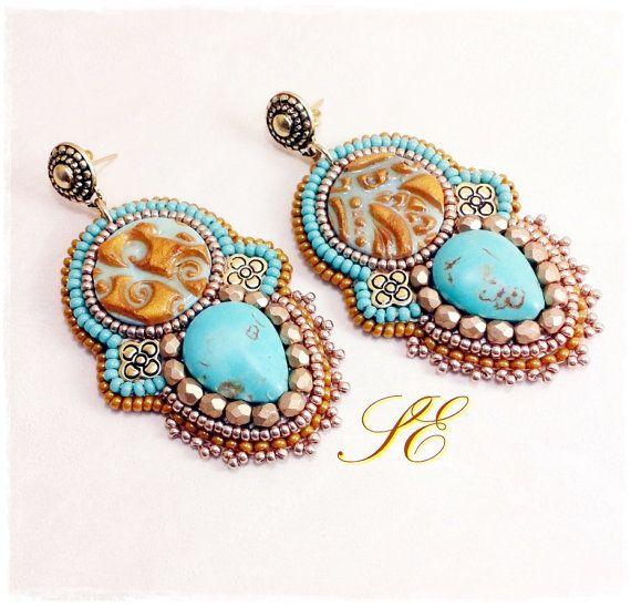 Bead embroidery earrings handmade di SEbijoux su Etsy