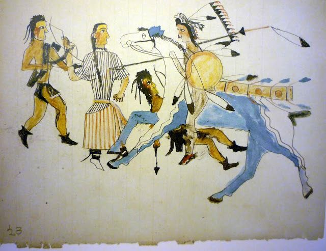 Great Plains Ledger Drawings : Sioux old white woman s ledger art late american