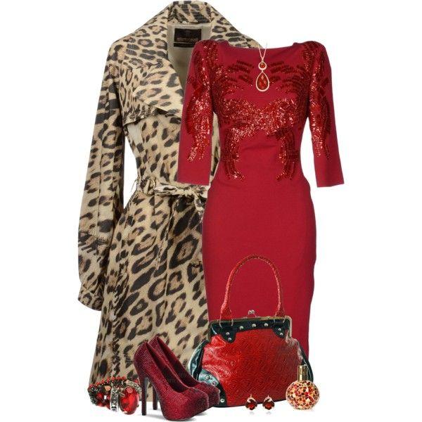 leopardo e vermelho, created by sil-engler on Polyvore