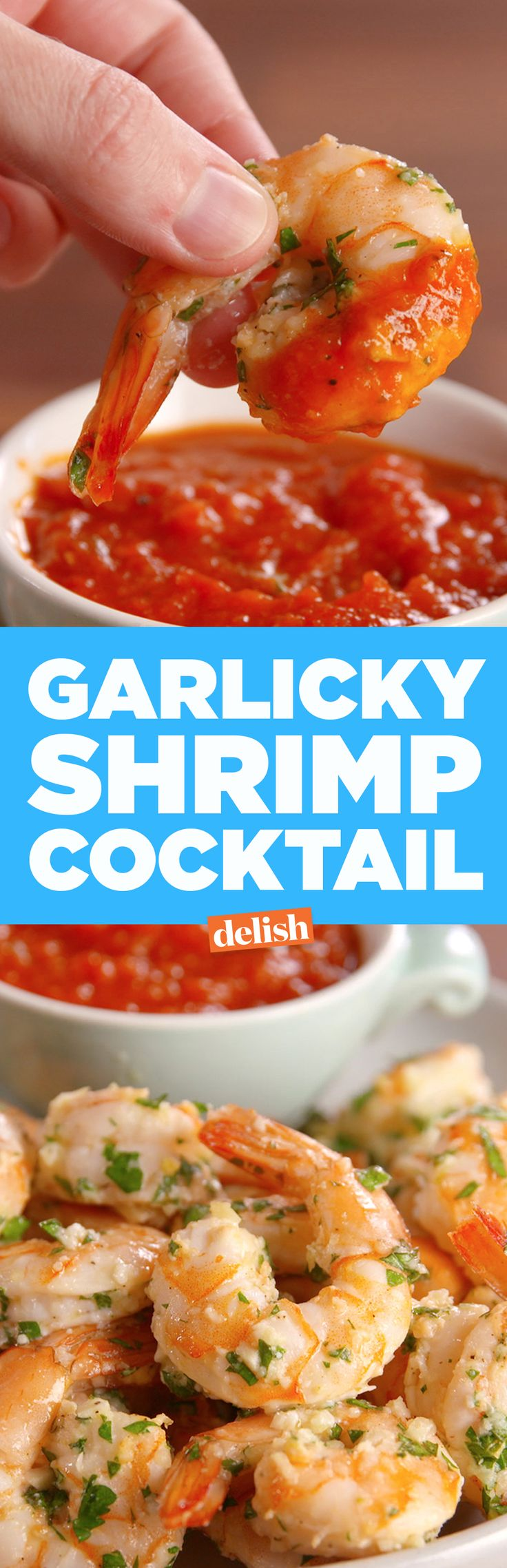 This Garlicky Shrimp Cocktail is all people will talk about at your holiday party. Get the recipe on Delish.com.