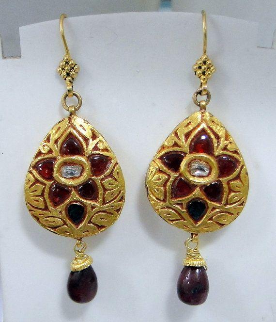 20 ct gold Ruby & diamond earrings dangles Kundan by TRIBALEXPORT, $975.00