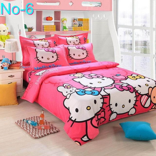 Cotton Bedding Sets Cartoon Hello Kitty 4pcs Bed Set Duvet Cover Bed Sheet Pillowcase Soft and Comfortable king queen size