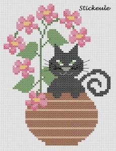 Cute Kitty in Vase of Flowers · Cross-Stitch | CraftGossip.com
