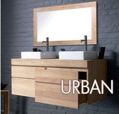 Minimalist Mood  Line Art URBAN Solid Wood Floating Bathroom Vanity In  Teak. Available In 3 Sizes; Choice Of 1 Or 2 Drawer Set.
