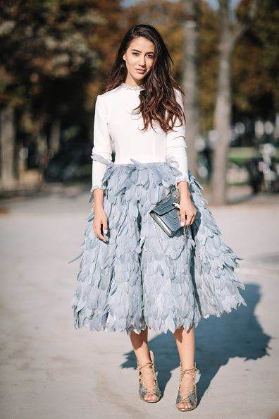 Tamara Kalinic is wearing a Mihano Momosa dress Casadei shoes and a Bulgari bag outside the Chanel show during Paris Fashion Week Spring Summer 2017...