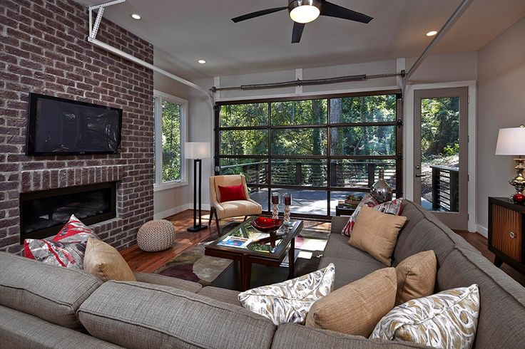Contemporary living room with robert abbey doughnut for Bronze living room ideas