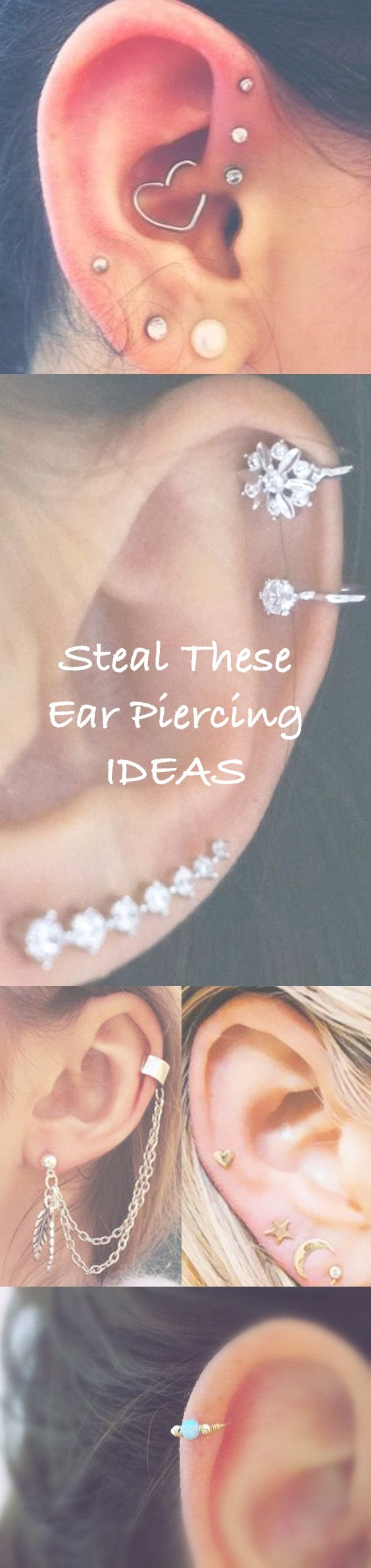 Cute Ear Piercing Ideas at MyBodiArt.com - Cartilage, Tragus, Helix, Rook, Daith, Jewelry, Jewellery, Piercings, Earrings, Ear Jacket, Ear Cuffs