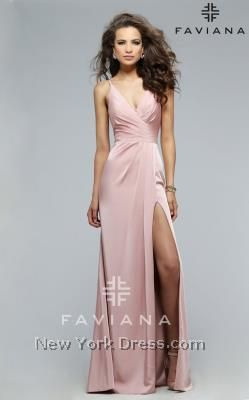 Wondrous wrapped evening gown with sculpting tucks by Faviana 7755