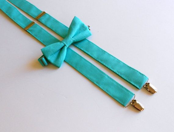 Tiffany Blue Bowtie and Suspenders Set  Men's by kellybowbelly