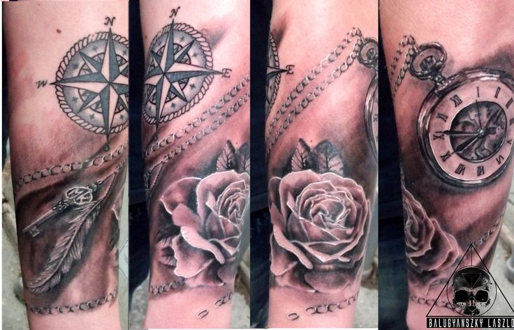 pocket clock, chain, rose, feather, key, tattoo