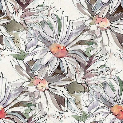 Seamless pattern with watercolor flowers. Sketch of camomiles ink and watercolor.