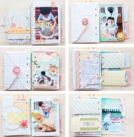 minibook from Sassafras blog made using envelopes. (2 sizes) #scrapbooking #mini-book