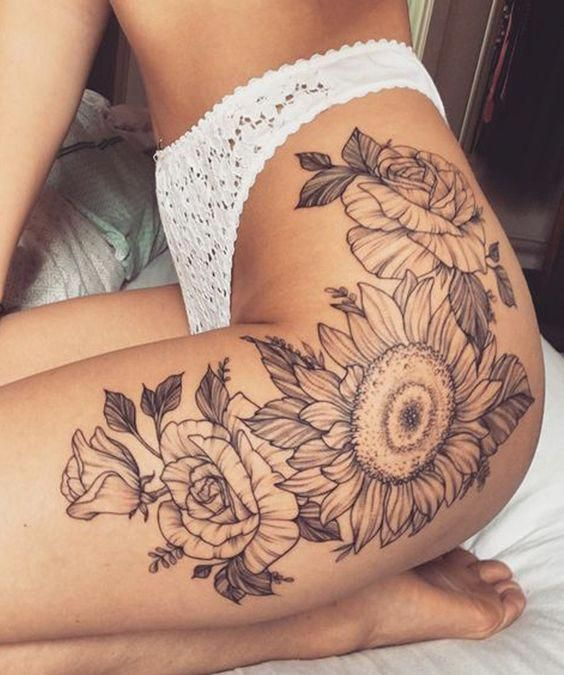 Vintage Black and White Realistic Sunflower Floral Leg Thigh #tattoo Ideas for W… – Tattoo Ideas