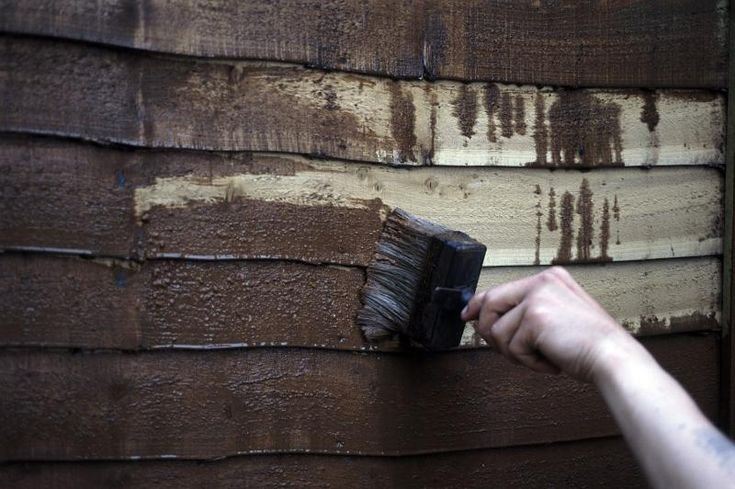 Man painting an exterior timber building with creosote paint rich in phenols and creosols as a preservative and disinfectant for the wood - free stock photo from www.freeimages.co.uk