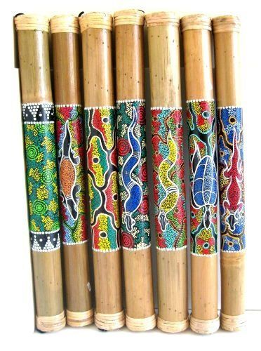"""Bamboo Rainstick, Percussion Musical Instrument Rain Stick Shaker - 24"""" by World Bazaar Imports. $16.99. Fair Trade Item. Handpainted by skilled artisans. Produces a nice, resonating sound. Price per piece- Assortment shown. Perfect for any music lover. Colorful designs adrorn this handcrafted primitive insturment. Hollow bamboo is filled with small stones, seeds and shells to produce a tranquil cascading sound reminiscent of a rain shower. Traditionally used for ce..."""