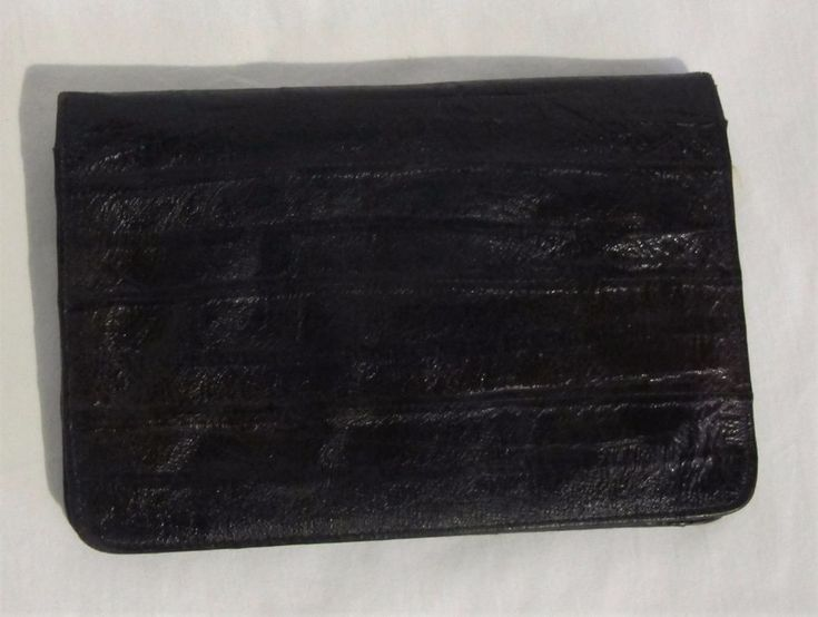 EEL SKIN Leather WALLET Brown Slim Bifold Pen slot PASSPOST Cards Vintage Unisex