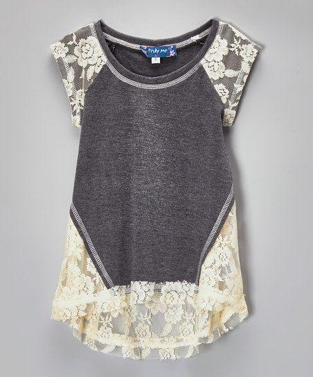 Gray  Ivory Lace Hi-Low Raglan Top