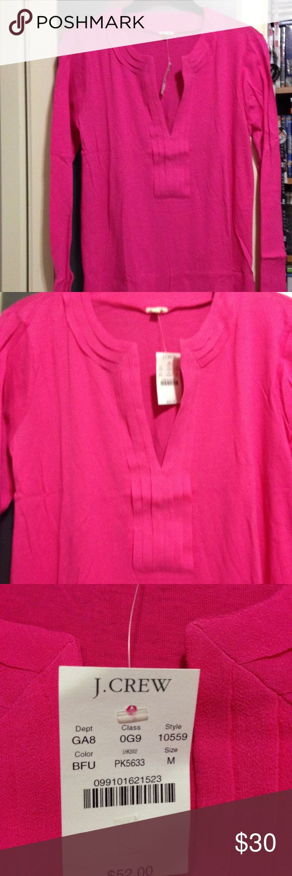 NWT J.Crew Hot Pink Long Sleeve Top Brand New J.Crew Hot Pink Long Sleeve Top. Tags attached. Gorgeous color. J. Crew Tops Tees - Long Sleeve