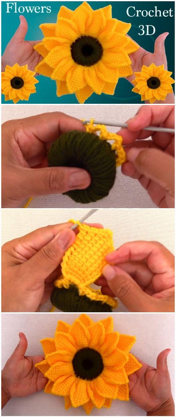 Fiori 3d Uncinetto.Crochet 3d Sunflower Tunisian Stitch Fiori All Uncinetto