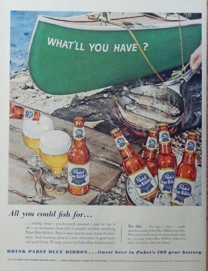 Pabst Blue Ribbon Beer  50 s print ad  full page color illustration  fish in pan  Magazine Art