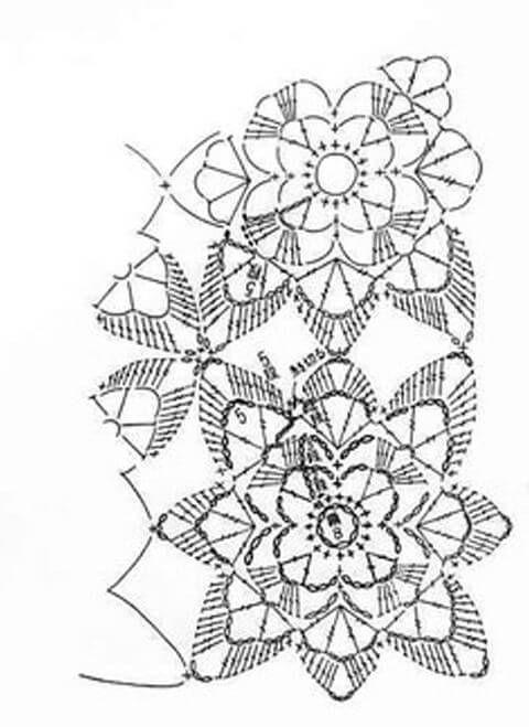 Carpeta Ganchillo Rectangular de Motivos / Esquema DIY | Patrones para Crochet